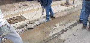 Εντατικές εργασίες ανακατασκευής των πεζοδρομίων μας