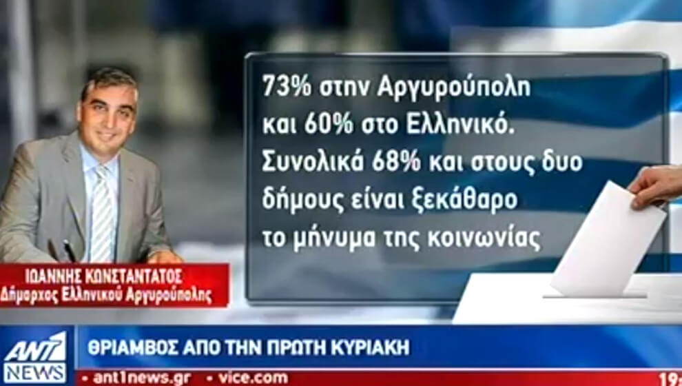 Μήνυμα Δημάρχου για το εκλογικό αποτέλεσμα στον ΑΝΤ1